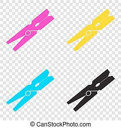 Clothes peg sign. CMYK icons on transparent background....