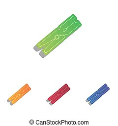 Clothes peg sign. Colorfull applique icons set.