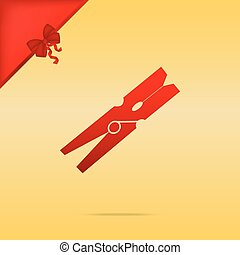 Clothes peg sign. Cristmas design red icon on gold...