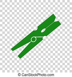 Clothes peg sign. Dark green icon on transparent background.