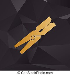 Clothes peg sign. Golden style on background with polygons.