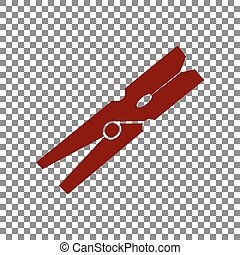 Clothes peg sign. Maroon icon on transparent background.