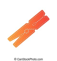 Clothes peg sign. Orange applique isolated.