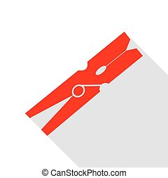 Clothes peg sign. Red icon with flat style shadow path.