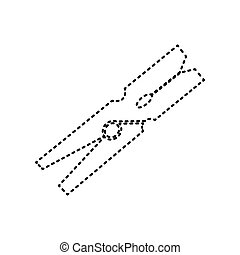 Clothes peg sign. Vector. Black dashed icon on white background. Isolated.
