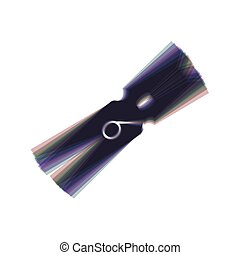 Clothes peg sign. Vector. Colorful icon shaked with vertical axis at white background. Isolated.