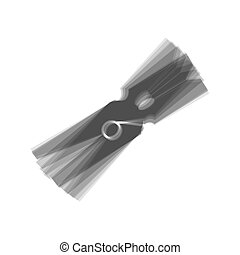 Clothes peg sign. Vector. Gray icon shaked at white...
