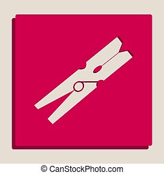 Clothes peg sign. Vector. Grayscale version of Popart-style...