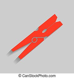Clothes peg sign. Vector. Red icon with soft shadow on gray...
