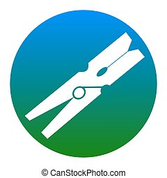 Clothes peg sign. Vector. White icon in bluish circle on white background. Isolated.