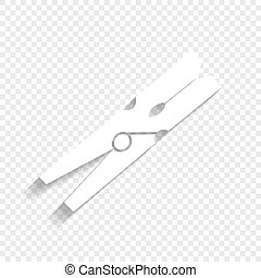 Clothes peg sign. Vector. White icon with soft shadow on transparent background.