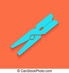 Clothes peg sign. Vector. Whitish icon on brick wall as...