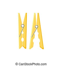 Clothes pegs in flat style vector illustration isolated on white