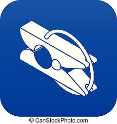 Clothes pin icon blue vector