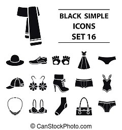 Clothes set icons in black style. Big collection clothes vector symbol stock illustration