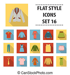 Clothes set icons in flat style. Big collection clothes bitmap,raster symbol stock illustration