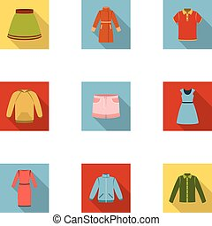 Clothes set icons in flat style. Big collection of clothes vector symbol stock illustration