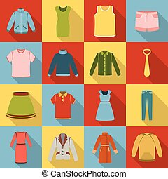 Clothes set icons in flat style. Big collection clothes vector symbol stock illustration