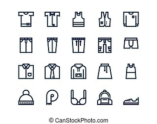Clothes. Set of outline vector icons.