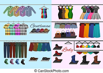 Clothes shop concept - Male and female fashion accessories...