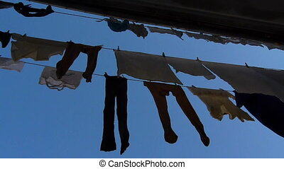 clothes - Hanging clothes on the street after been washed