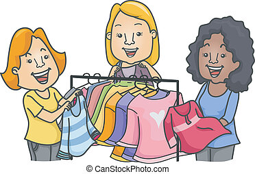 Illustration of Women Standing Near a Clothes Rack Swapping Clothes