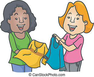 Illustration of Women Swapping Clothes