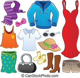 Clothes theme collection 1 - vector illustration.
