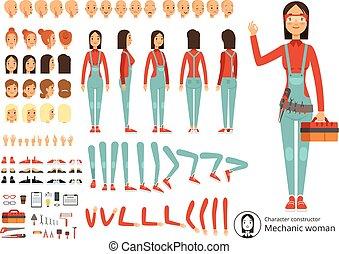 clothes., vector, grande, constructor, cuerpo, niña, creación, partes, kit, trabajando, mecánico