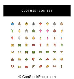 Clothes Vector Icon Set with filled outline style design