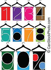 clothes with numbers, hanger illustration
