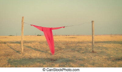 Red long johns hanging on a clothesline on the prairie, South Dakota
