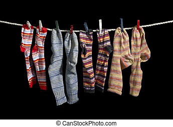 clothesline and sox - clothesline with some multicolored sox...