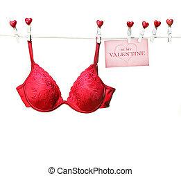 clothesline, biustonosz, czerwony, fantazja, wisząc