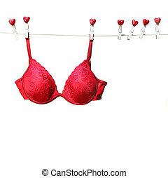 clothesline, bustehouder, rood, zich verbeelden, hangend