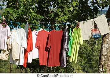 Clothesline - clothes drying on the rope