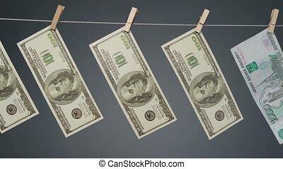 clothesline, corde, pendre