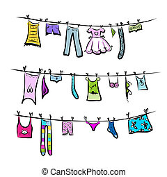 clothesline., croquis, conception, ton, vêtements