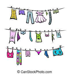 clothesline., esboço, desenho, seu, roupas
