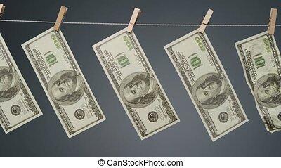 clothesline, faux, corde, vidéo, pendre, dollars
