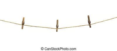 clothesline, fondo, isolato, bianco, clothespins