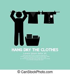 clothesline., hänga, kläder