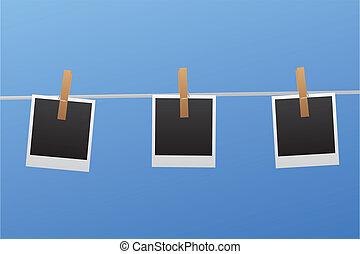 clothesline, polaroids