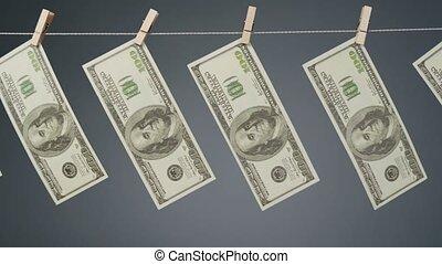 clothesline, sécher, corde, métrage, dollars