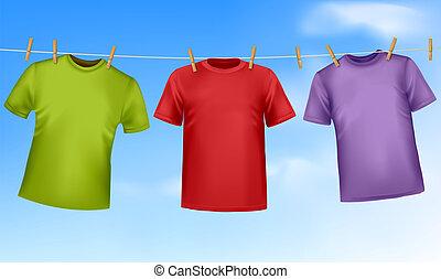 clothesline., set, gekleurde, t-shirts, hangend