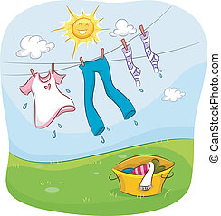 Clothesline - Illustration of the Sun Smiling Happily While...