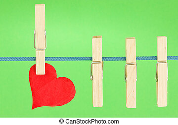 clothesline with a red heart