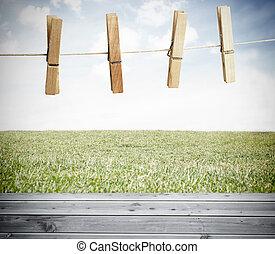 clothespin, 上, a, 洗衣房線, outsid