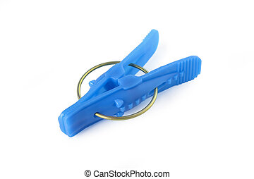 Clothespin - Blue plastic clothespin isolated on white ...
