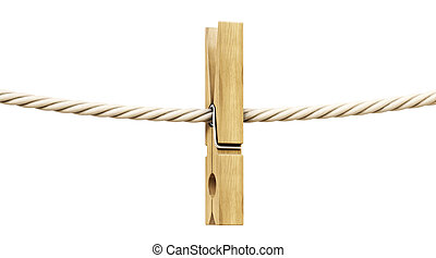 clothespin - wooden clothespin on a rope. Isolated on white.